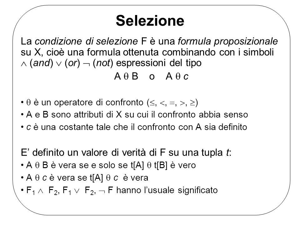 Selezione La condizione di selezione F è una formula proposizionale su X, cioè una formula ottenuta combinando con i simboli (and) (or) (not) espressi