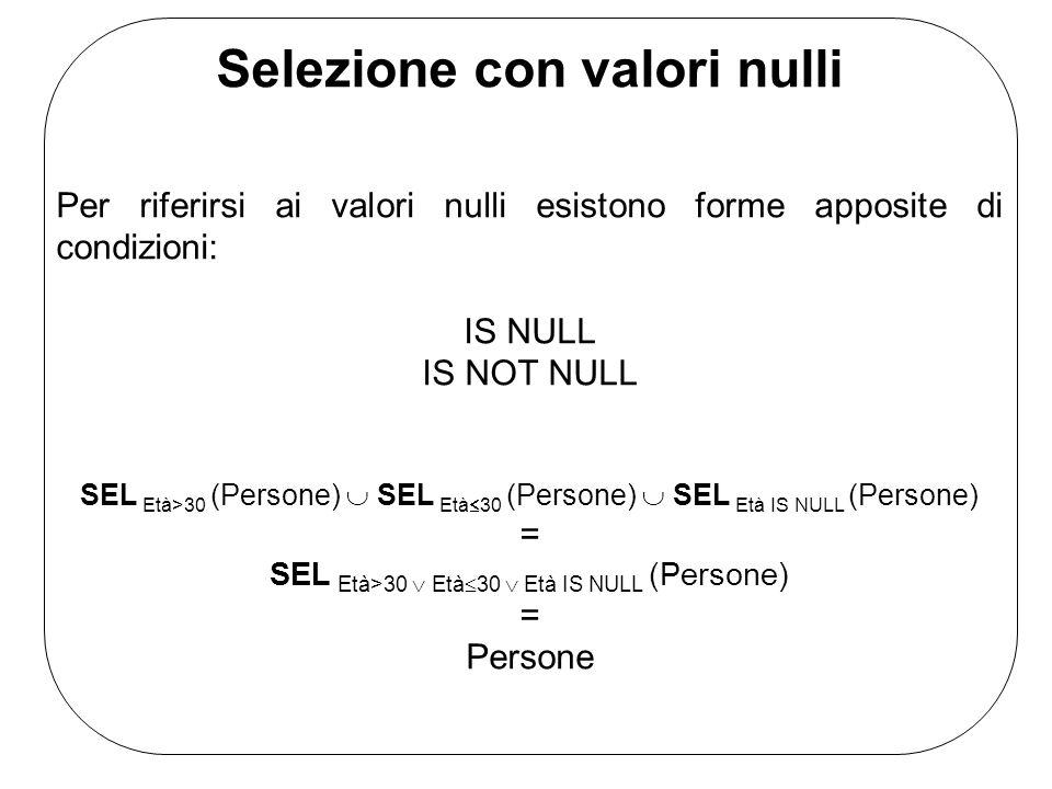 Selezione con valori nulli Per riferirsi ai valori nulli esistono forme apposite di condizioni: IS NULL IS NOT NULL SEL Età>30 (Persone) SEL Età 30 (P