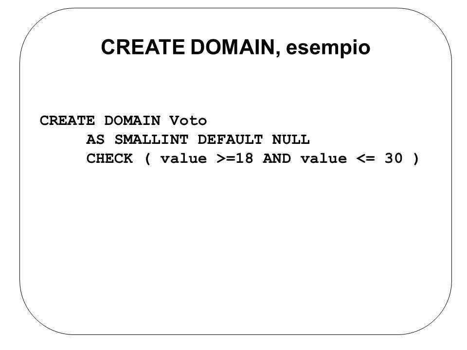 CREATE DOMAIN Voto AS SMALLINT DEFAULT NULL CHECK ( value >=18 AND value <= 30 ) CREATE DOMAIN, esempio
