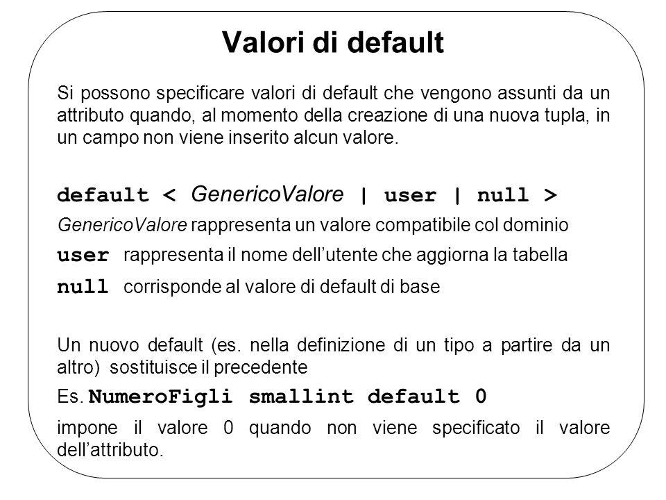 Valori di default Si possono specificare valori di default che vengono assunti da un attributo quando, al momento della creazione di una nuova tupla,