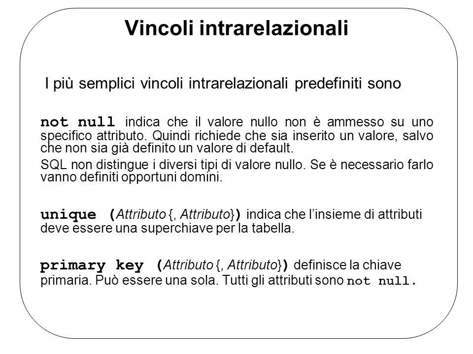 Vincoli intrarelazionali I più semplici vincoli intrarelazionali predefiniti sono not null indica che il valore nullo non è ammesso su uno specifico a