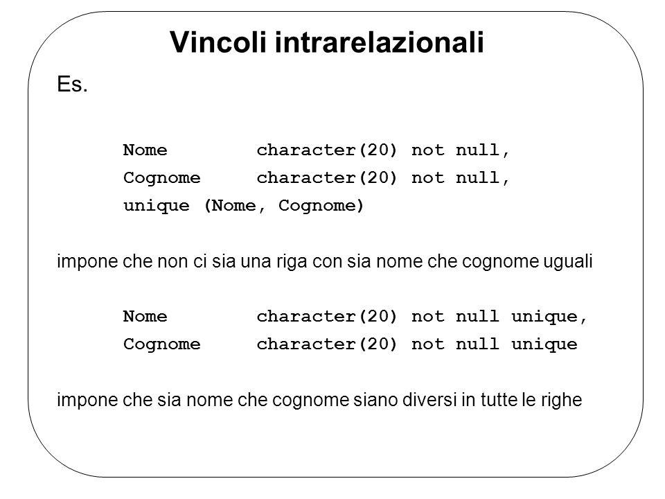 Vincoli intrarelazionali Es. Nome character(20) not null, Cognome character(20) not null, unique (Nome, Cognome) impone che non ci sia una riga con si