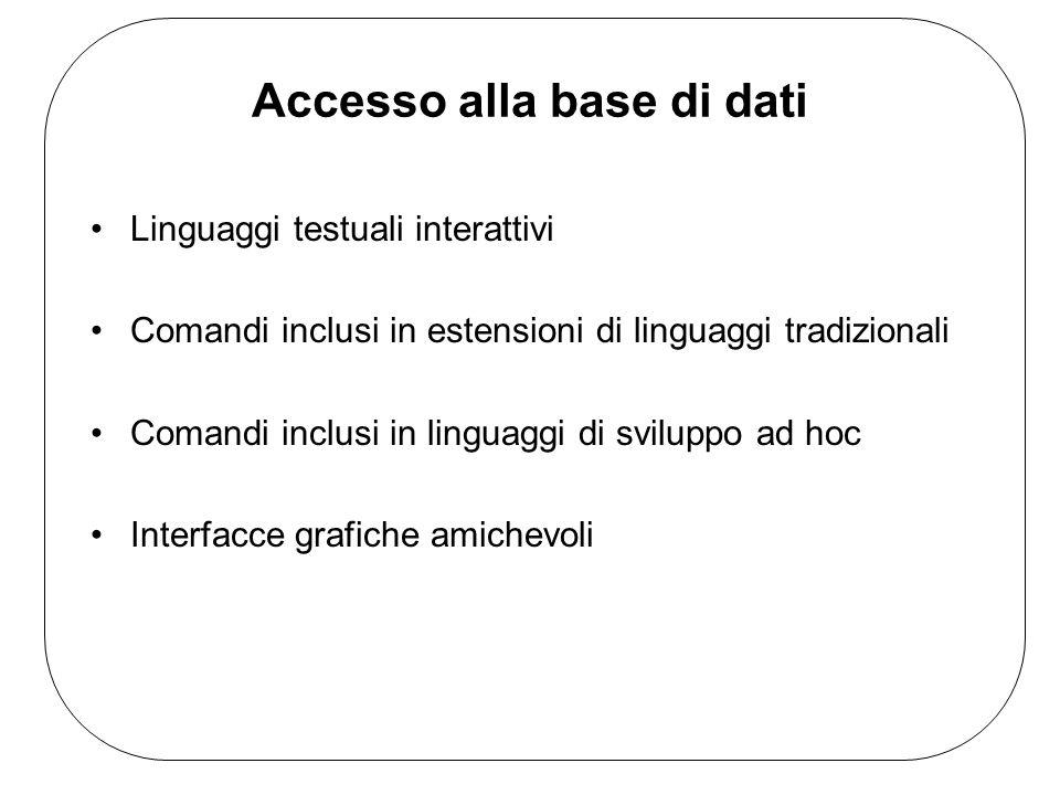 Accesso alla base di dati Linguaggi testuali interattivi Comandi inclusi in estensioni di linguaggi tradizionali Comandi inclusi in linguaggi di sviluppo ad hoc Interfacce grafiche amichevoli