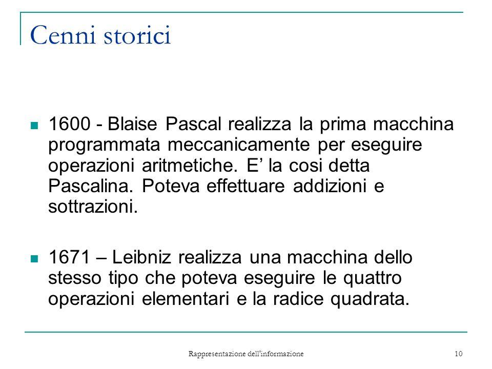 Rappresentazione dell informazione 10 Cenni storici 1600 - Blaise Pascal realizza la prima macchina programmata meccanicamente per eseguire operazioni aritmetiche.