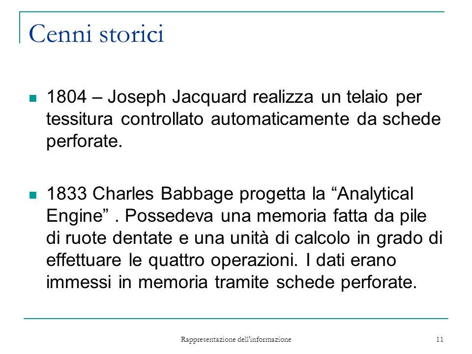 Rappresentazione dell informazione 11 Cenni storici 1804 – Joseph Jacquard realizza un telaio per tessitura controllato automaticamente da schede perforate.