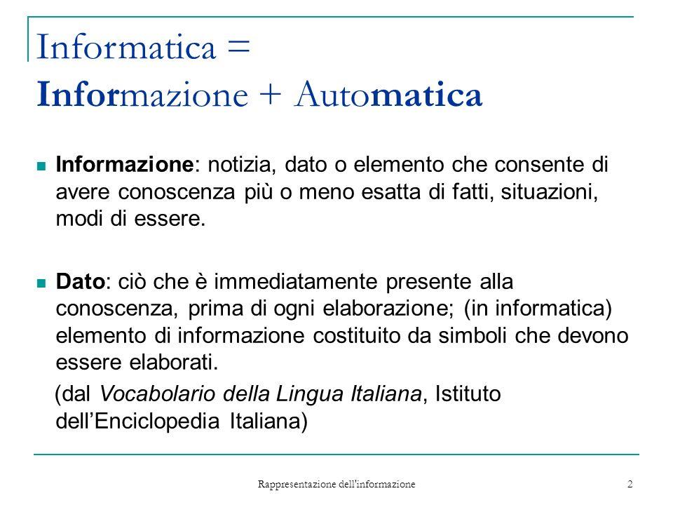 Rappresentazione dell informazione 2 Informazione: notizia, dato o elemento che consente di avere conoscenza più o meno esatta di fatti, situazioni, modi di essere.