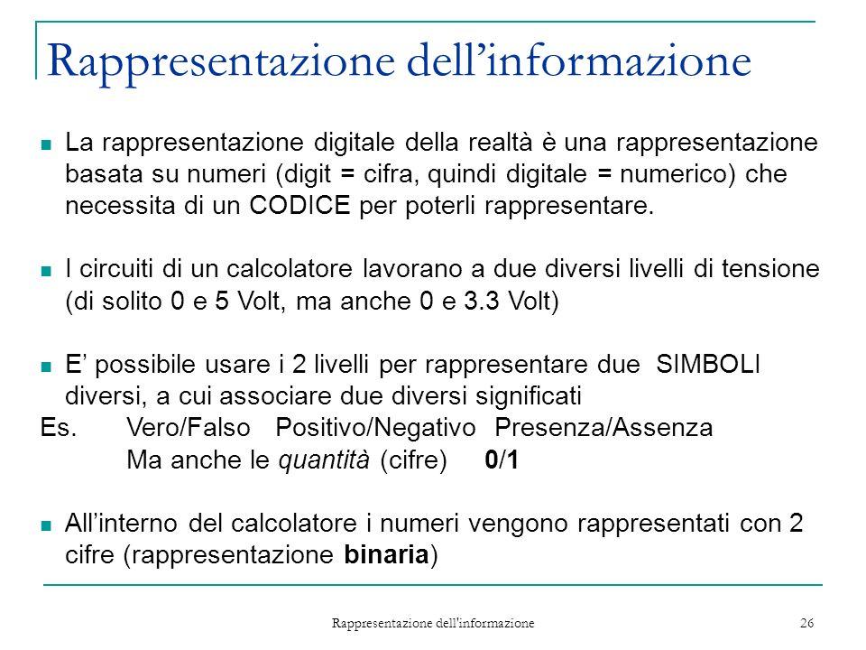 Rappresentazione dell informazione 26 La rappresentazione digitale della realtà è una rappresentazione basata su numeri (digit = cifra, quindi digitale = numerico) che necessita di un CODICE per poterli rappresentare.