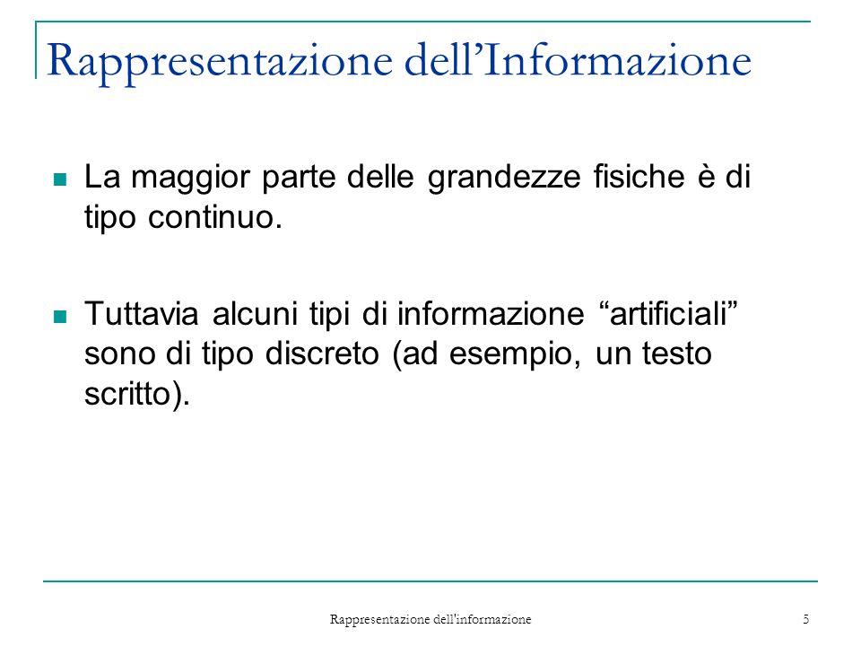 Rappresentazione dell informazione 5 Rappresentazione dellInformazione La maggior parte delle grandezze fisiche è di tipo continuo.