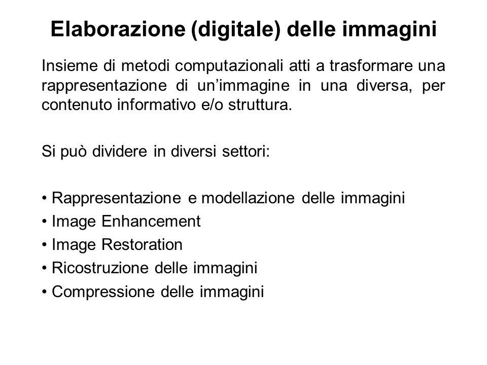 Elaborazione (digitale) delle immagini Insieme di metodi computazionali atti a trasformare una rappresentazione di unimmagine in una diversa, per contenuto informativo e/o struttura.