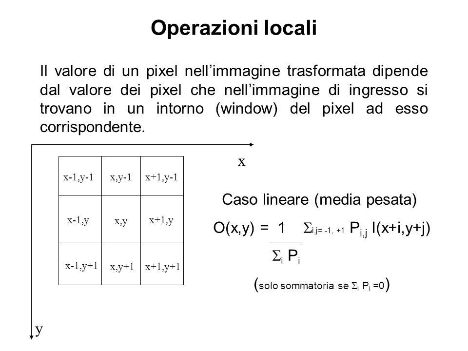 Operazioni locali Il valore di un pixel nellimmagine trasformata dipende dal valore dei pixel che nellimmagine di ingresso si trovano in un intorno (window) del pixel ad esso corrispondente.
