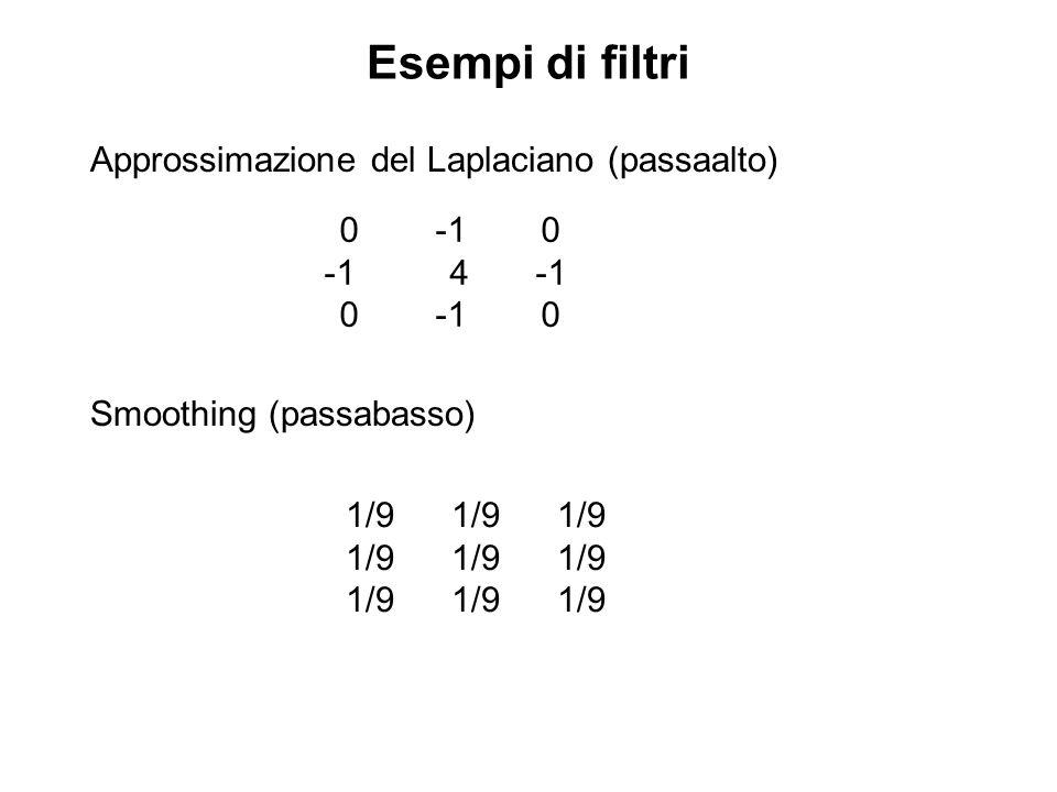 Esempi di filtri Approssimazione del Laplaciano (passaalto) Smoothing (passabasso) 0-10 -1 4-1 0-10 1/91/91/9