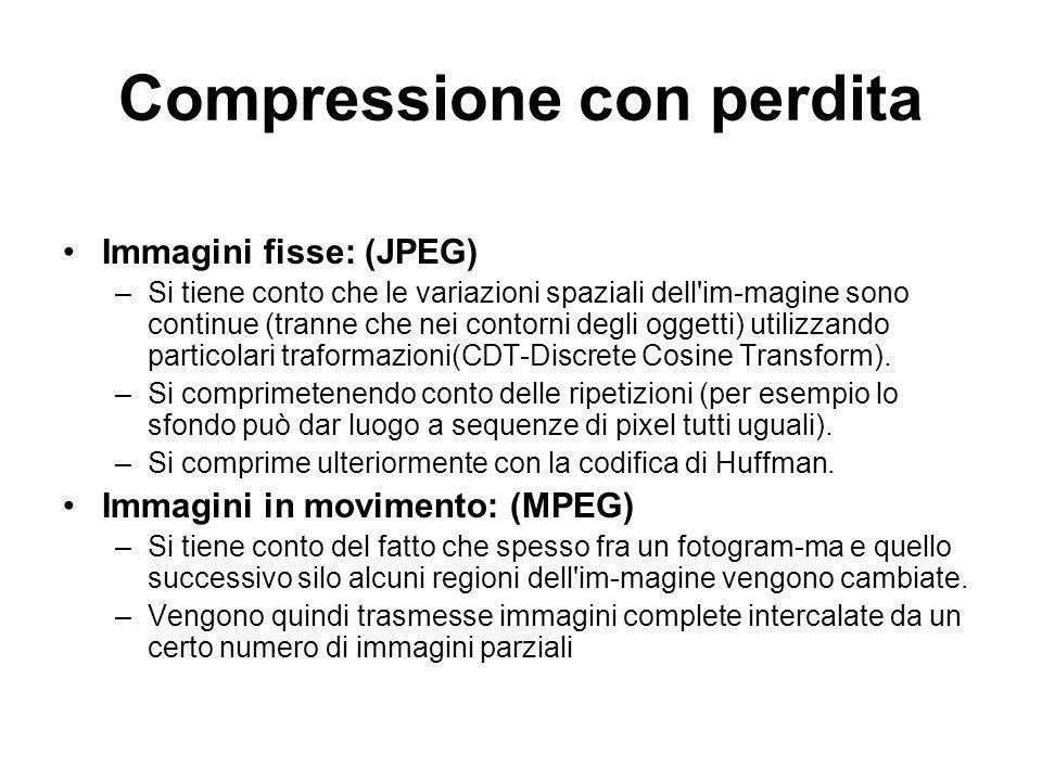 Compressione con perdita Immagini fisse: (JPEG) –Si tiene conto che le variazioni spaziali dell im-magine sono continue (tranne che nei contorni degli oggetti) utilizzando particolari traformazioni(CDT-Discrete Cosine Transform).