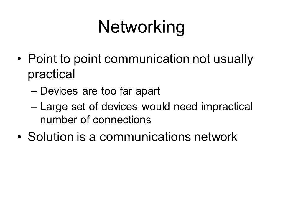 Networking Point to point communication not usually practical –Devices are too far apart –Large set of devices would need impractical number of connec