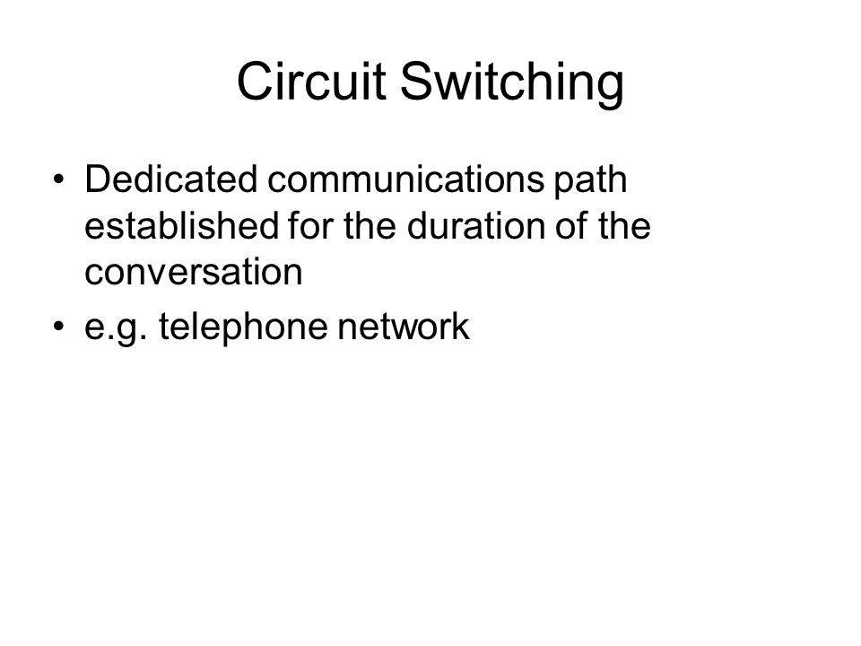 Circuit Switching Dedicated communications path established for the duration of the conversation e.g. telephone network