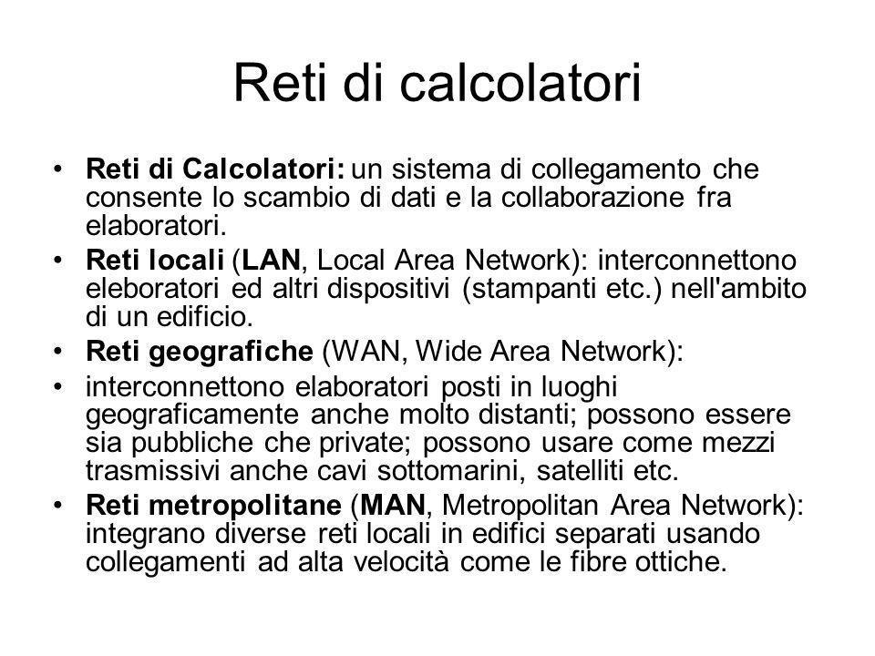 Reti di calcolatori Reti di Calcolatori: un sistema di collegamento che consente lo scambio di dati e la collaborazione fra elaboratori.