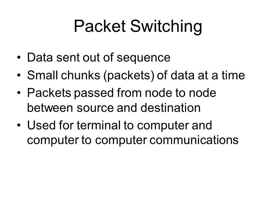 Packet Switching Data sent out of sequence Small chunks (packets) of data at a time Packets passed from node to node between source and destination Used for terminal to computer and computer to computer communications