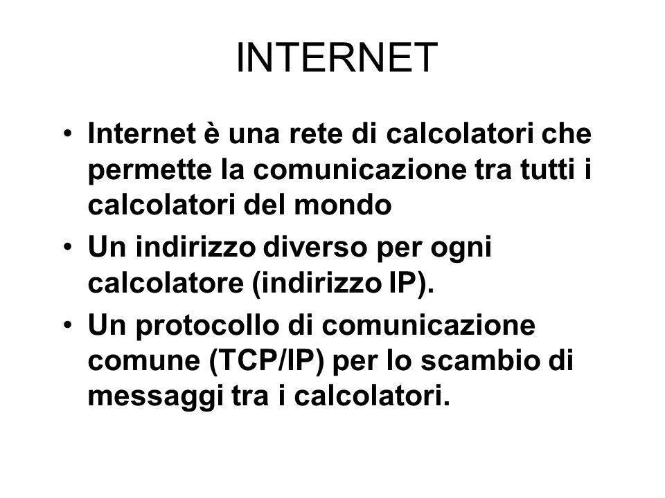 INTERNET Internet è una rete di calcolatori che permette la comunicazione tra tutti i calcolatori del mondo Un indirizzo diverso per ogni calcolatore (indirizzo IP).