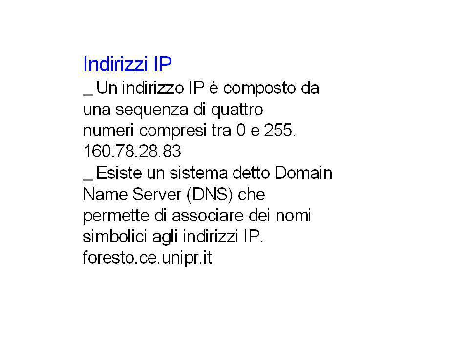 Indirizzi IP I nomi simbolici associati agli indirizzi IP non sono liberi, ma assegnati da uffici appositi.