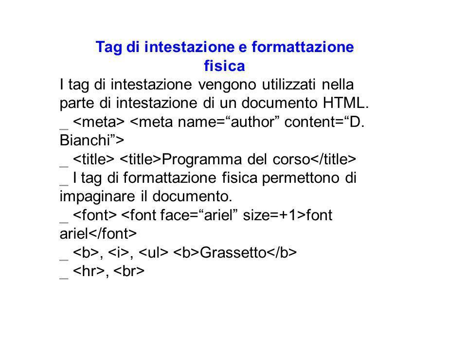 Tag di intestazione e formattazione fisica I tag di intestazione vengono utilizzati nella parte di intestazione di un documento HTML.