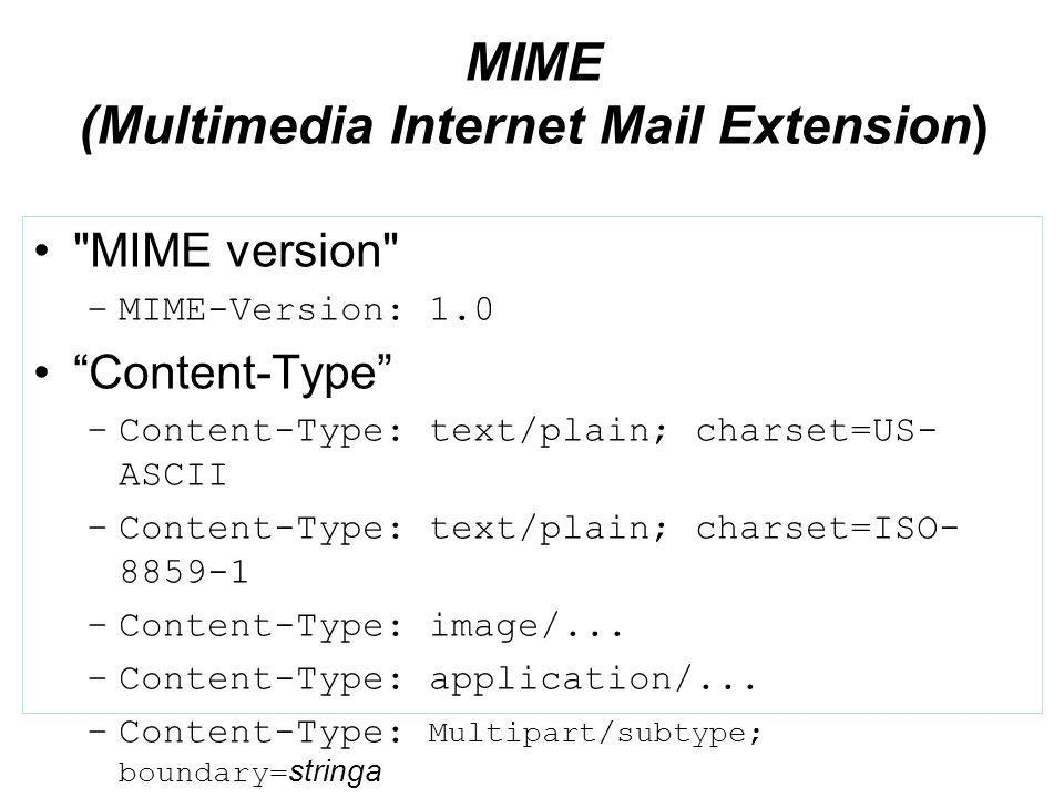 MIME (Multimedia Internet Mail Extension) MIME version –MIME-Version: 1.0 Content-Type –Content-Type: text/plain; charset=US- ASCII –Content-Type: text/plain; charset=ISO- 8859-1 –Content-Type: image/...