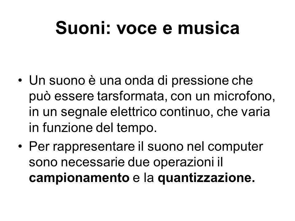 Suoni: voce e musica Un suono è una onda di pressione che può essere tarsformata, con un microfono, in un segnale elettrico continuo, che varia in funzione del tempo.