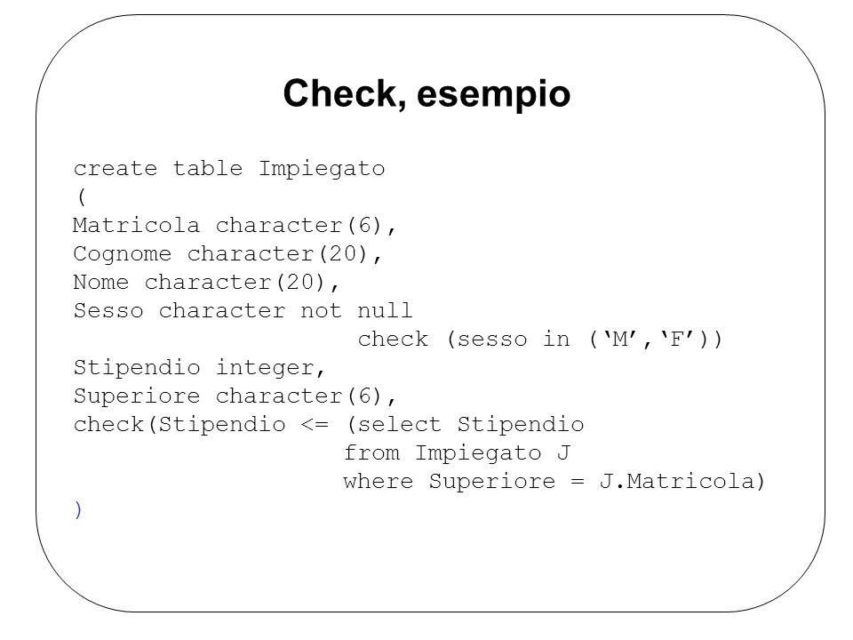Check, esempio create table Impiegato ( Matricola character(6), Cognome character(20), Nome character(20), Sesso character not null check (sesso in (M