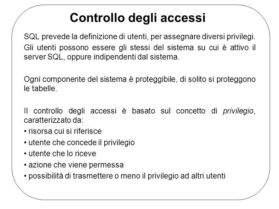 Controllo degli accessi SQL prevede la definizione di utenti, per assegnare diversi privilegi. Gli utenti possono essere gli stessi del sistema su cui