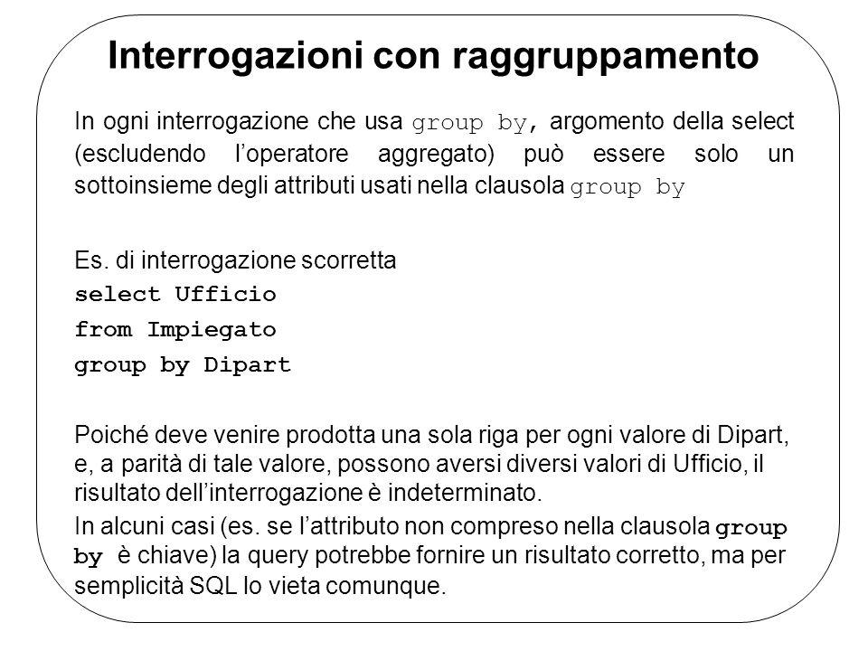 Interrogazioni con raggruppamento In ogni interrogazione che usa group by, argomento della select (escludendo loperatore aggregato) può essere solo un sottoinsieme degli attributi usati nella clausola group by Es.