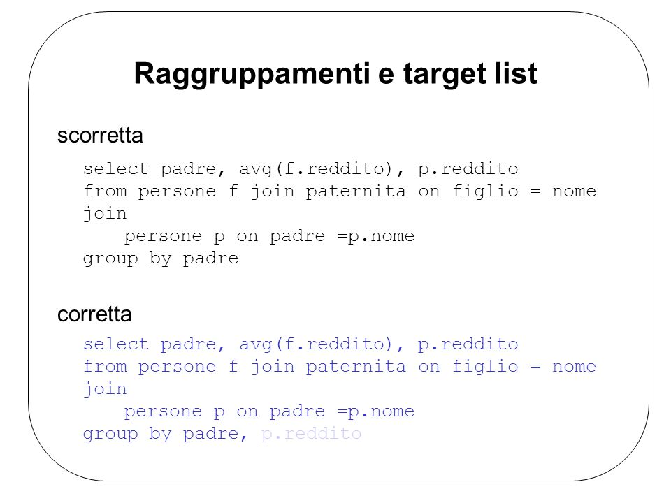 Raggruppamenti e target list scorretta select padre, avg(f.reddito), p.reddito from persone f join paternita on figlio = nome join persone p on padre