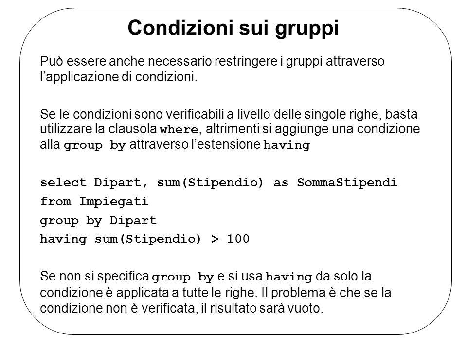 Condizioni sui gruppi Può essere anche necessario restringere i gruppi attraverso lapplicazione di condizioni.