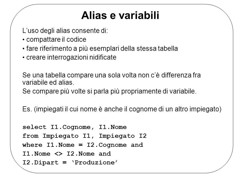 Alias e variabili Luso degli alias consente di: compattare il codice fare riferimento a più esemplari della stessa tabella creare interrogazioni nidificate Se una tabella compare una sola volta non cè differenza fra variabile ed alias.