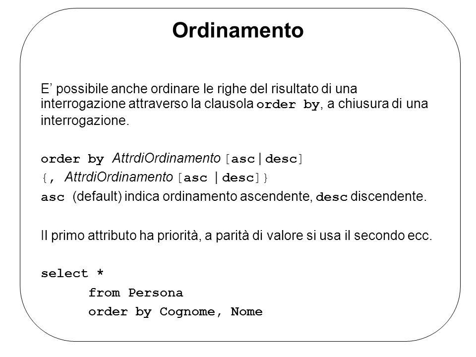 Ordinamento E possibile anche ordinare le righe del risultato di una interrogazione attraverso la clausola order by, a chiusura di una interrogazione.