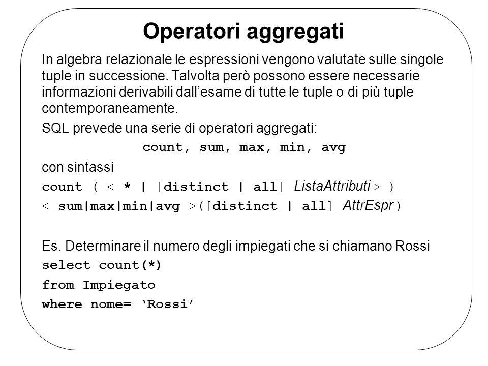 Interrogazioni con raggruppamento Gli operatori aggregati vengono applicati a tutte le righe che vengono prodotte come risultato delloperazione.
