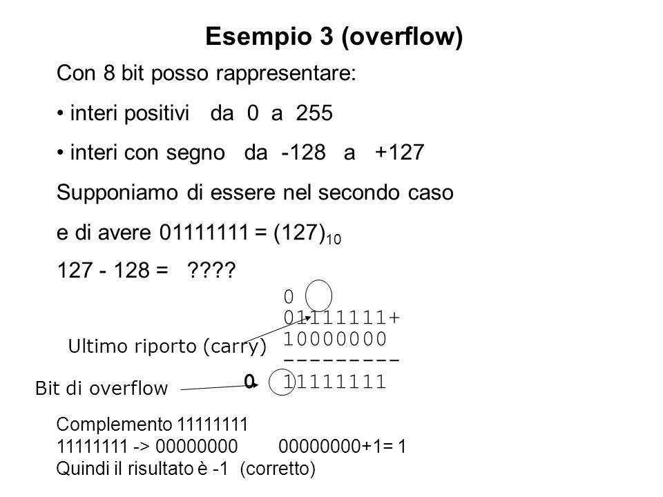 Esempio 3 (overflow) Con 8 bit posso rappresentare: interi positivi da 0 a 255 interi con segno da -128 a +127 Supponiamo di essere nel secondo caso e di avere 01111111 = (127) 10 127 - 128 = ???.