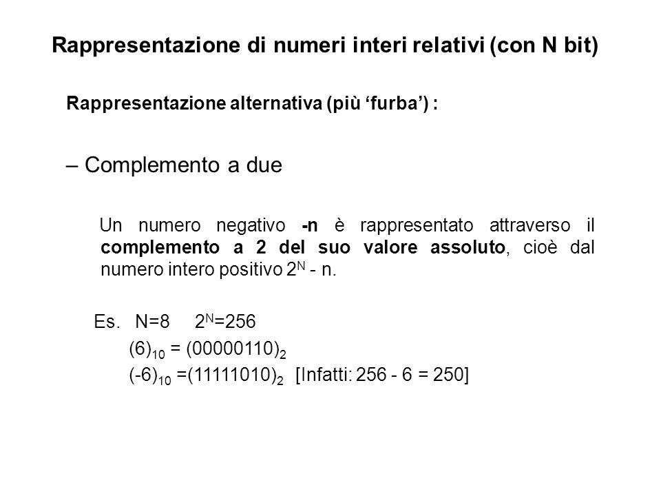 Rappresentazione di numeri interi relativi (con N bit) Rappresentazione alternativa (più furba) : – Complemento a due Un numero negativo -n è rappresentato attraverso il complemento a 2 del suo valore assoluto, cioè dal numero intero positivo 2 N - n.