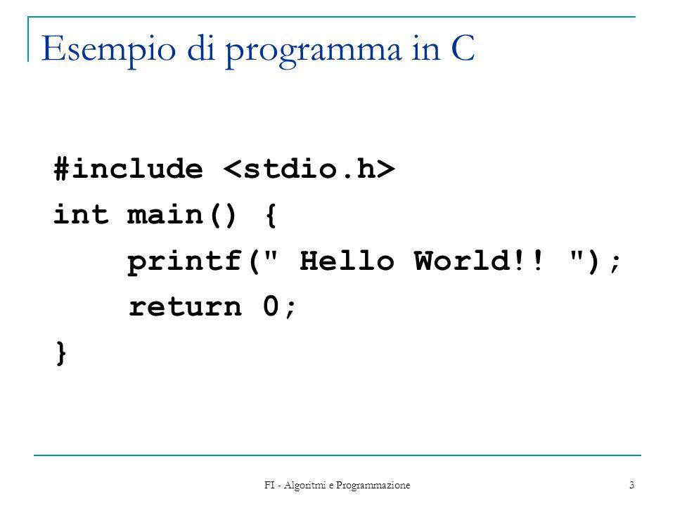 FI - Algoritmi e Programmazione 3 Esempio di programma in C #include int main() { printf( Hello World!.