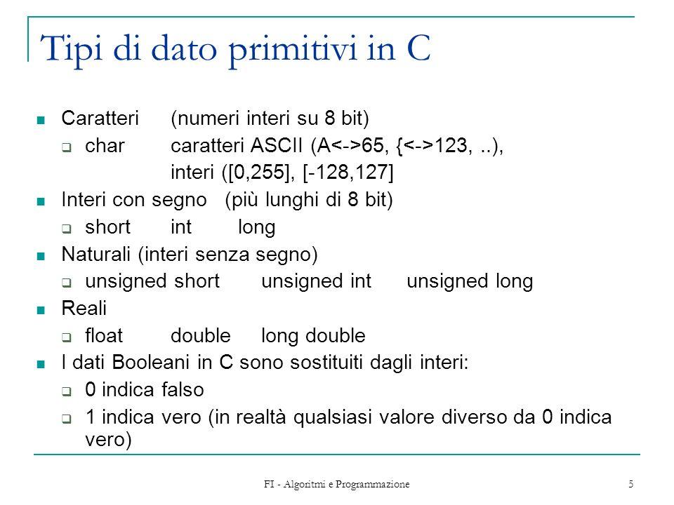 FI - Algoritmi e Programmazione 6 Variabili Consentono di aumentare notevolmente la potenza espressiva del linguaggio Una variabile è caratterizzata da: Un nome che la identifica Un valore modificabile che viene associato al nome Il risultato di unespressione contenente delle variabili si ottiene sostituendo ad ogni variabile il suo valore.