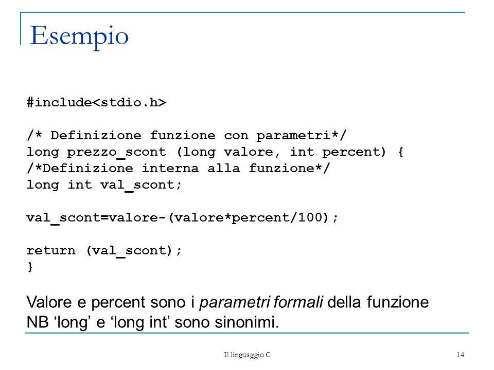 Il linguaggio C 14 Esempio #include /* Definizione funzione con parametri*/ long prezzo_scont (long valore, int percent) { /*Definizione interna alla