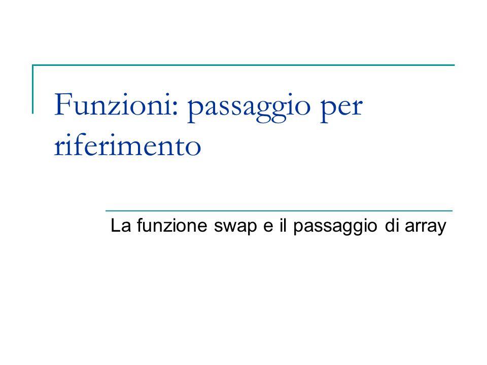 Funzioni: passaggio per riferimento La funzione swap e il passaggio di array