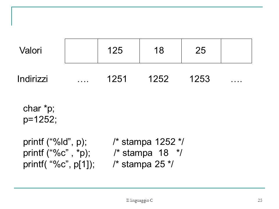 Il linguaggio C 25 Indirizzi …. 1251 1252 1253 …. Valori125 18 25 char *p; p=1252; printf (%ld, p); /* stampa 1252 */ printf (%c, *p); /* stampa 18 */