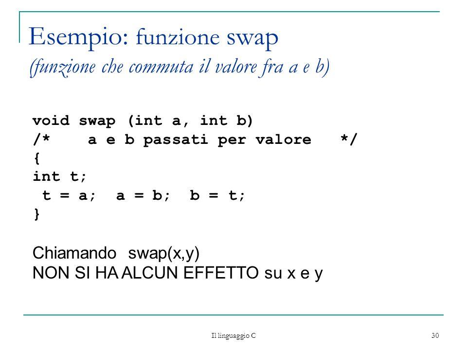 Il linguaggio C 30 Esempio: funzione swap (funzione che commuta il valore fra a e b) void swap (int a, int b) /* a e b passati per valore */ { int t;