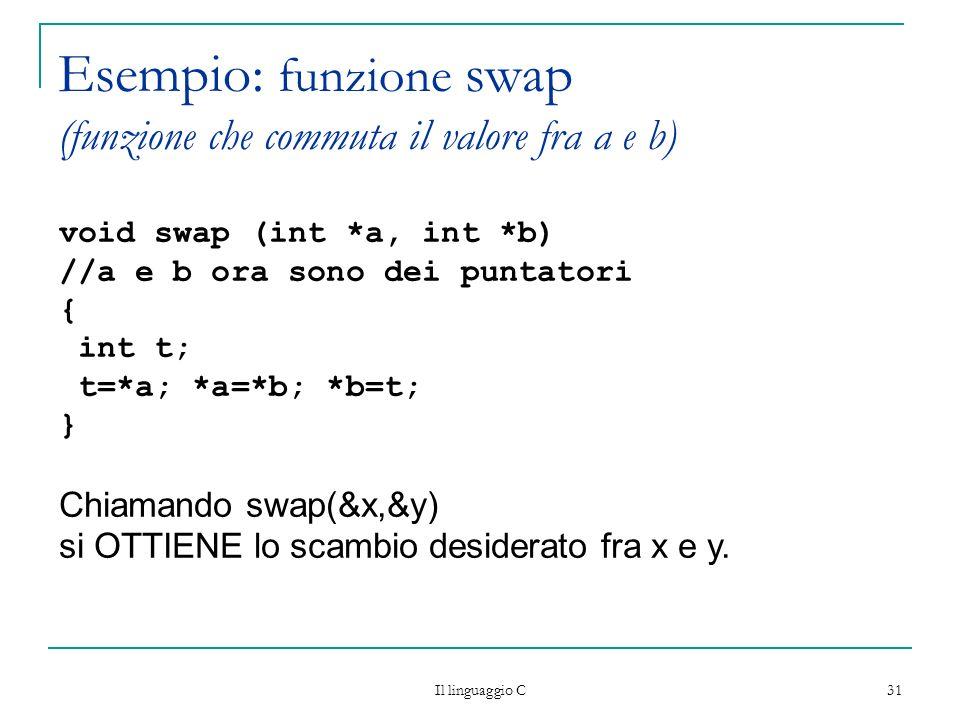 Il linguaggio C 31 Esempio: funzione swap (funzione che commuta il valore fra a e b) void swap (int *a, int *b) //a e b ora sono dei puntatori { int t
