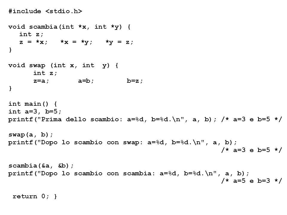 #include void scambia(int *x, int *y) { int z; z = *x; *x = *y; *y = z; } void swap (int x, int y) { int z; z=a; a=b; b=z; } int main() { int a=3, b=5