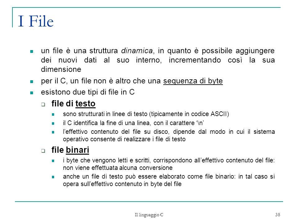 Il linguaggio C 38 I File un file è una struttura dinamica, in quanto è possibile aggiungere dei nuovi dati al suo interno, incrementando così la sua