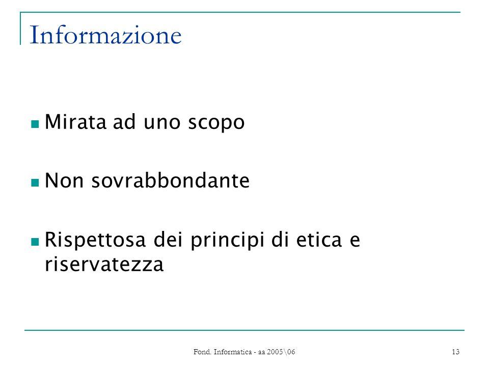 Fond. Informatica - aa 2005\06 13 Informazione Mirata ad uno scopo Non sovrabbondante Rispettosa dei principi di etica e riservatezza