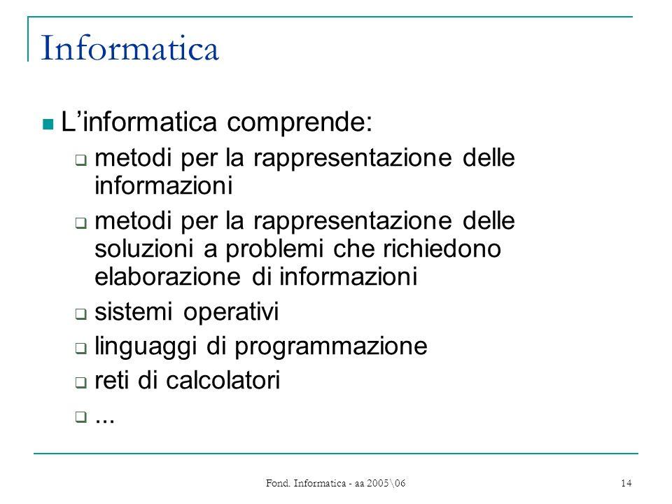 Fond. Informatica - aa 2005\06 14 Informatica Linformatica comprende: metodi per la rappresentazione delle informazioni metodi per la rappresentazione
