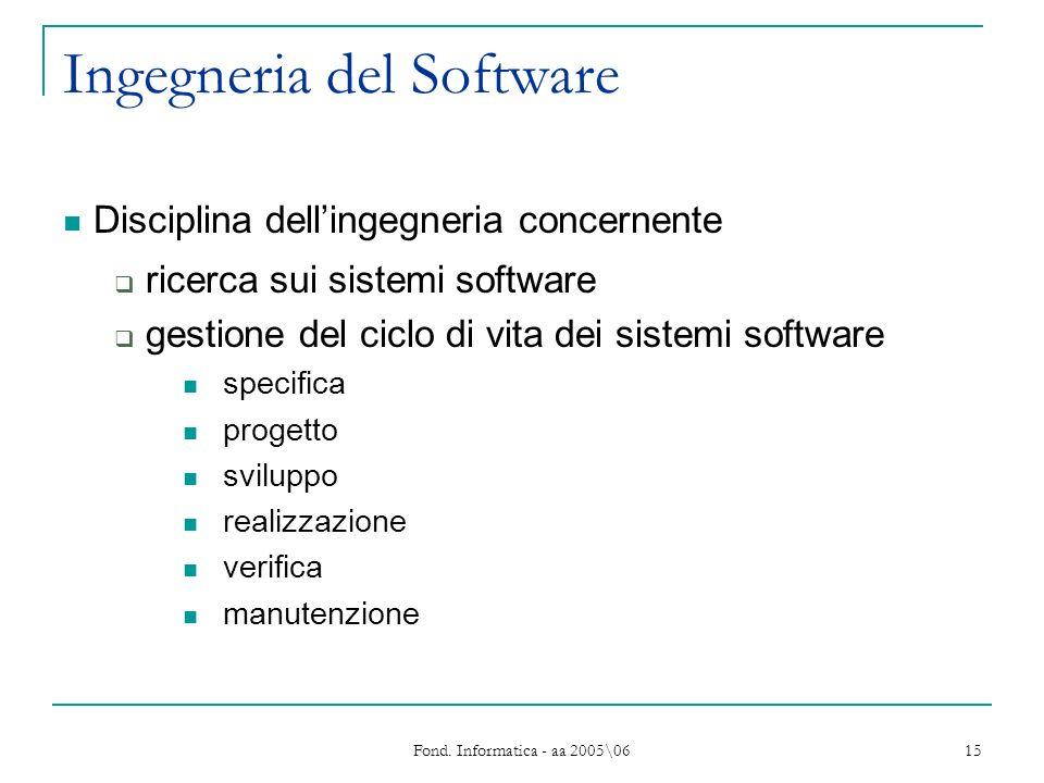 Fond. Informatica - aa 2005\06 15 Ingegneria del Software Disciplina dellingegneria concernente ricerca sui sistemi software gestione del ciclo di vit