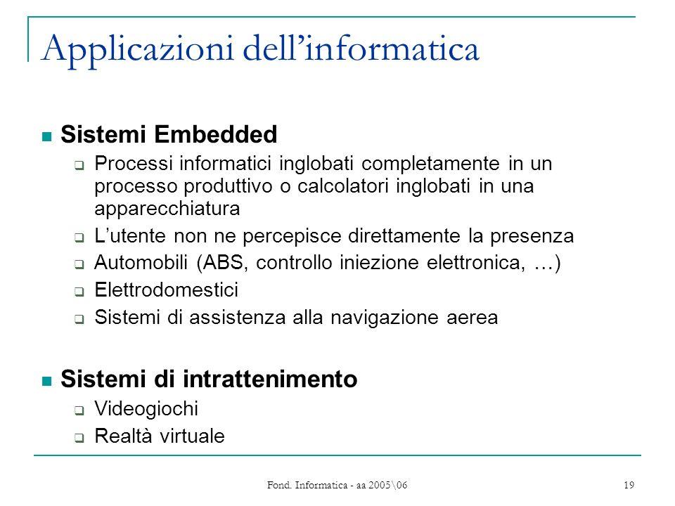 Fond. Informatica - aa 2005\06 19 Applicazioni dellinformatica Sistemi Embedded Processi informatici inglobati completamente in un processo produttivo