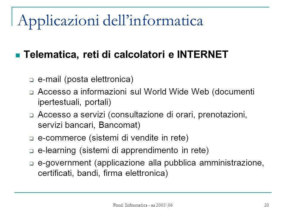 Fond. Informatica - aa 2005\06 20 Applicazioni dellinformatica Telematica, reti di calcolatori e INTERNET e-mail (posta elettronica) Accesso a informa