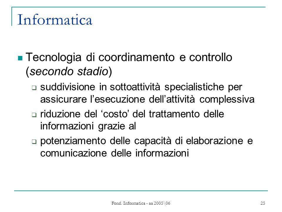 Fond. Informatica - aa 2005\06 25 Informatica Tecnologia di coordinamento e controllo (secondo stadio) suddivisione in sottoattività specialistiche pe